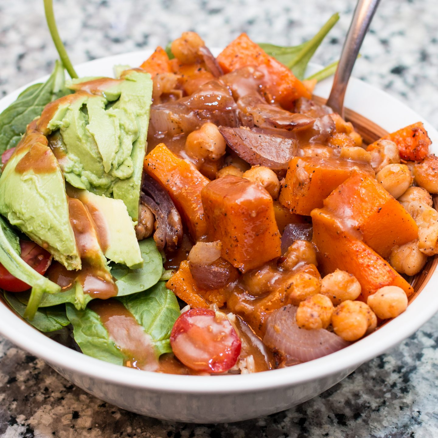 What's For Dinner: Spicy Butternut Squash and Chickpea Bowl With Peanut Sauce*