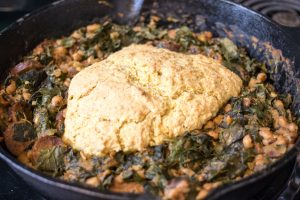 Black-eyed Peas, Collards, Sausage, and Cornbread