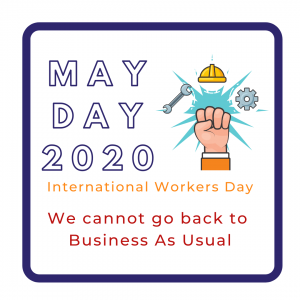 May Day / International Workers Day. An image includes a raised fist, a wrench, cog, and hard hat.